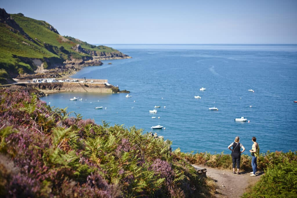 Bouley Bay in Trinity is a small north coast harbour with ideal deep water for diving and competent swimmers who don't mind starting off on a stony beach.