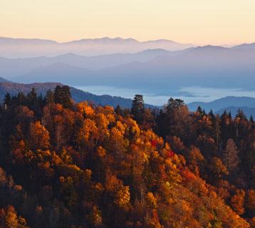 De rust van de Amerikaanse nationale parken in de herfst