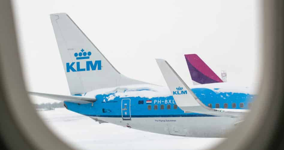 KLM annuleert vluchten vanwege sneeuwval