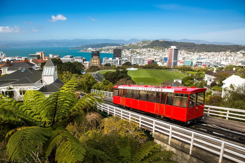 Uitzicht vanaf de Wellington kabelbaan, Nieuw-Zeeland.