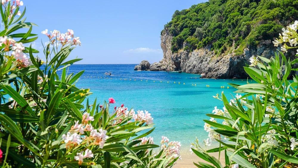 Het strand Paleokastritsa op Corfu