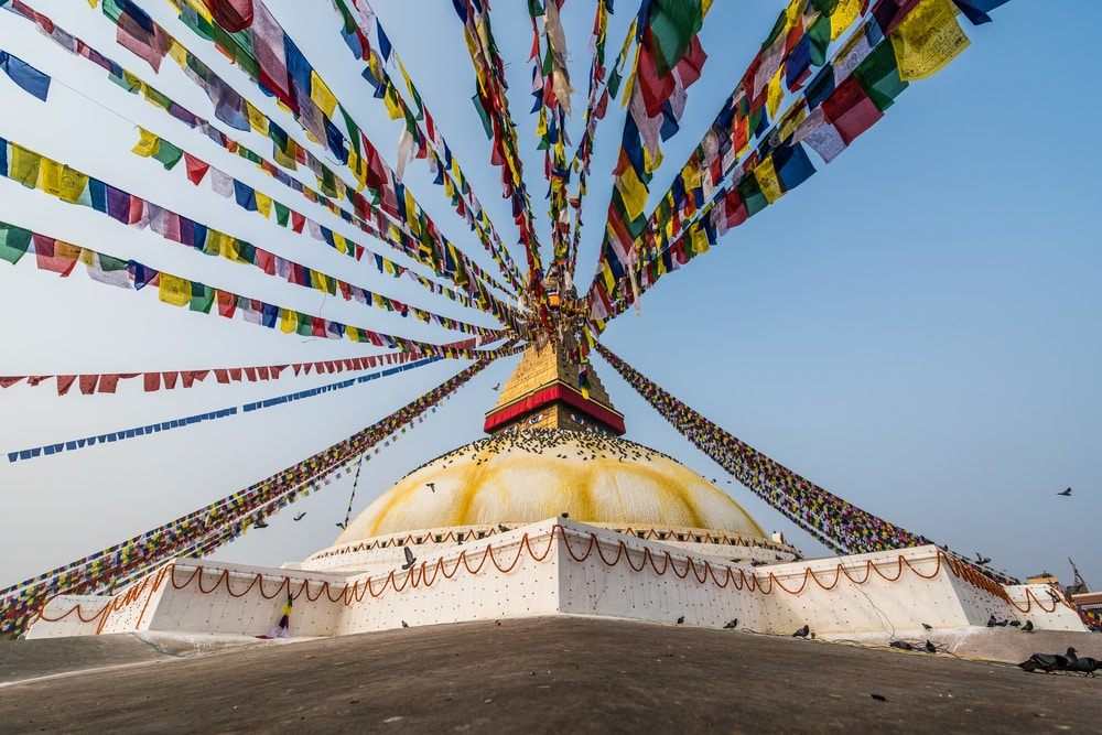 De grote boeddhistische klooster Boudhanath Stupa