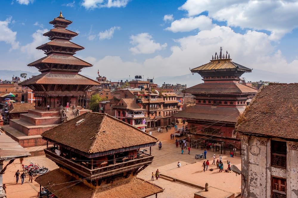 Het beroemde plein in de stad Bhaktapur