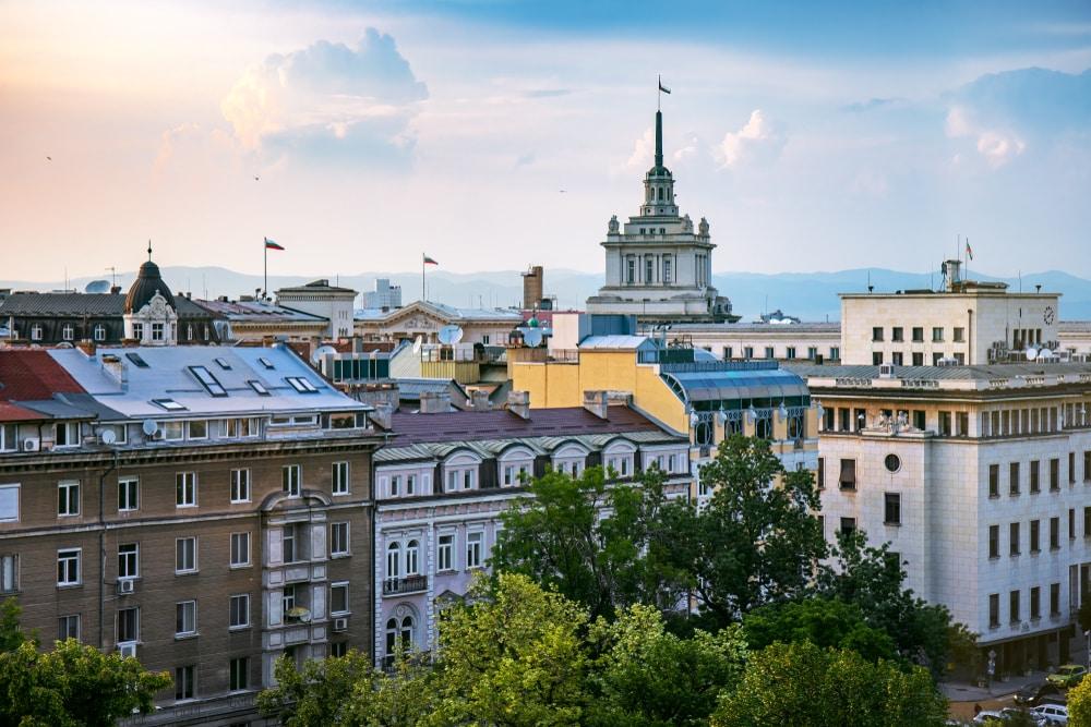 Een uitzicht over het centrum van Sofia