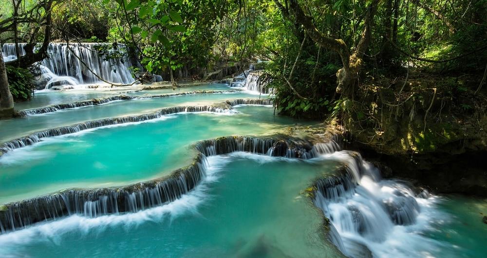 Bezoek de watervallen Kuang Si