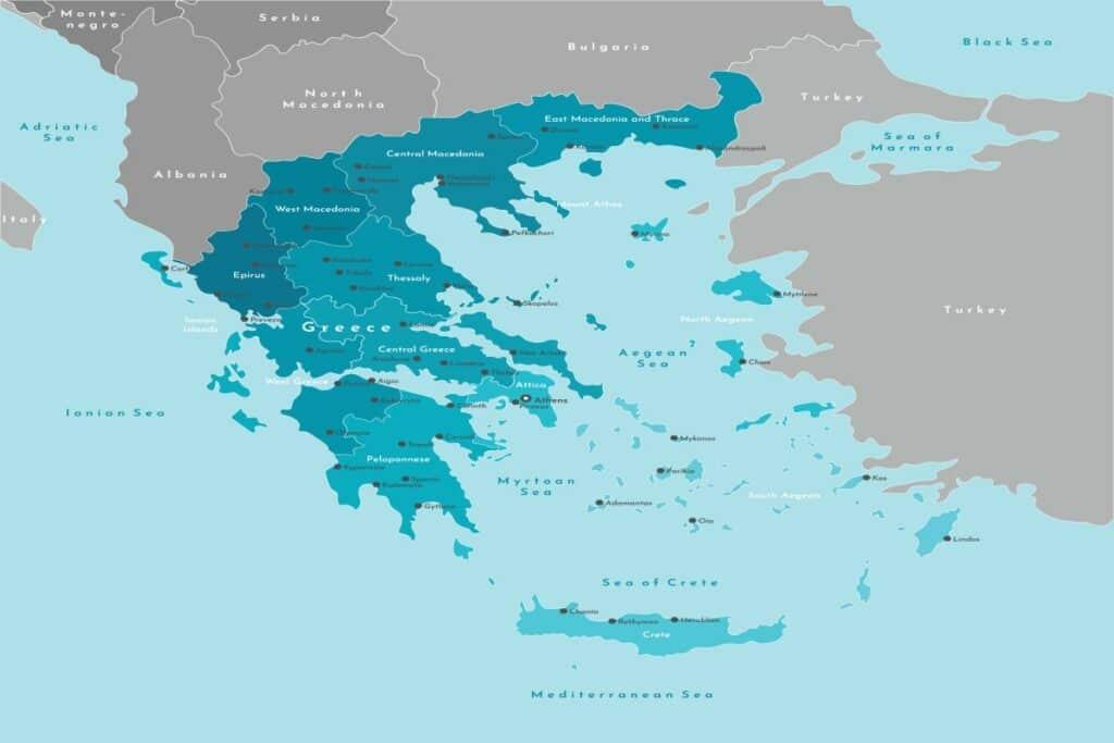 De kaart van Griekenland met de eilandengroepen